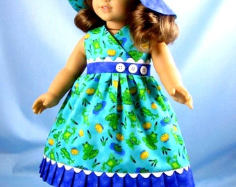 18 Inch Doll Clothes - Fits American Girl - Doll Sundress and Hat - Frog Patterned Doll Outfit