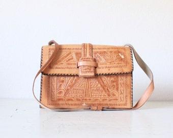 1970's Tooled Aztec Leather Handbag