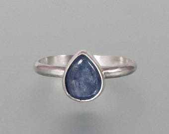 Blue kyanite teardrop ring - modern gemstone stacking ring - sterling silver pear shaped ring - contemporary minimalist ring - artisan ring