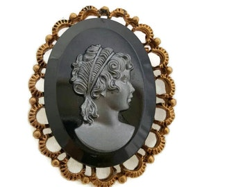 Antique Glass Cameo Brooch Victorian Black Glass Cameo Intaglio Brooches Crystal Silhouette Ornate Gold Tone Vintage Cameos Jewellery