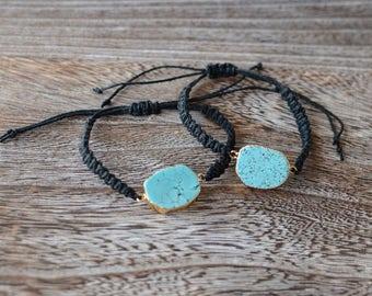 Turquoise with Black Macrame Brace