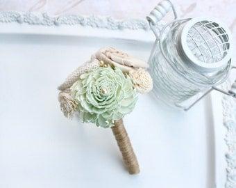 Mint Toss Bouquet // Mint Green, Mini Wedding Bouquet, Sola Wood, Wedding Flowers, Burlap, Fabric Flower, Posy Bouquet, Wedding Decoration