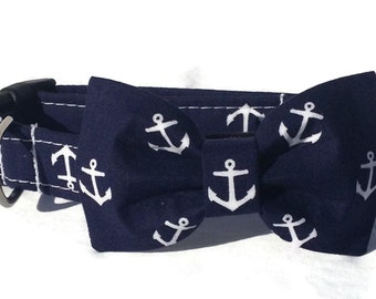 Dog Bow Tie and Collar Set in Navy Anchor Print for Small to Large Dogs