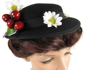 Mary Poppins Costume Hat with Cherries and Daisies 4022080849