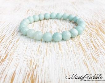 Amazonite Bracelet, Light Blue Bracelet, Stone Bracelet, Earthy Bracelet, Beach Bracelet, Amazonite Jewelry, Simple Bracelet, Vegan Jewelry