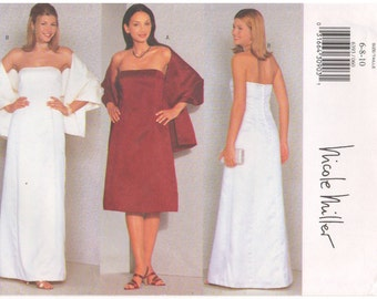 1999 - Butterick 6393 Sewing Pattern Nicole Miller Sizes 6/8/10 Strapless Dress Close Fitting A Line Slightly Flared Boned Princess Seams