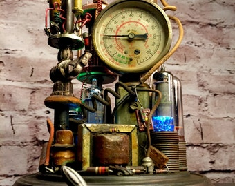 Steampunk Lamp Assemblage Art Sculpture