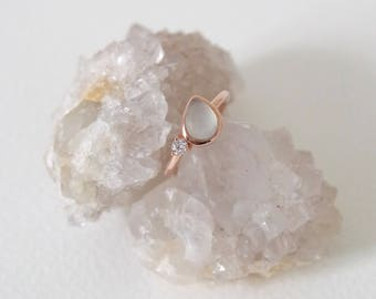 Reina - Aqua Chalcedony on Rose Gold Teardrop Ring