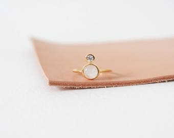 The Orb - Gold Stacking Ring, Moonstone Ring, Gifts for her