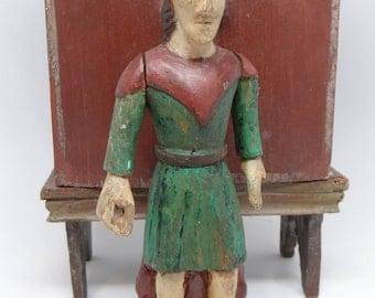 Early 1900's Santos , Antique Hand Carved  Polychrome Saint