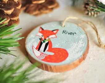 Fox Ornament. Baby Boy First Christmas Ornament. Customized Kids Gifts. Custom Ornament Baby Fox. Wooden Ornament. Woodland Animal Ornament.