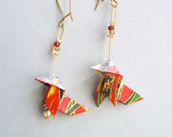 Red, golden and green Bird Origami earrings