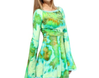 Bell Sleeve Dress in Jungle Ice Hand Dye