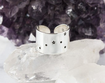 Cancer Zodiac Constellation Ring. Cancer gift. Zodiac jewelry. Zodiac ring. Sterling Silver or Aluminum Constellation ring RTS