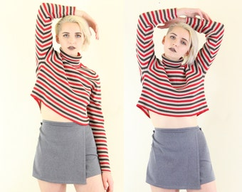 Striped 90s Ribbed Cropped Knit Turtleneck, Long Sleeve Turtle Neck Crop Top, 90s Cropped Striped Sweater, Women's Size Large