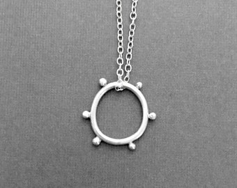 Modern Sterling Silver Necklace Minimalist, Simple, Round, Sun, Geometric, Handmade Artisan Fashion Jewelry
