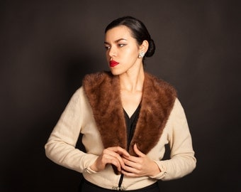 1950's 100% Cashmere and Mink Collar Sweater