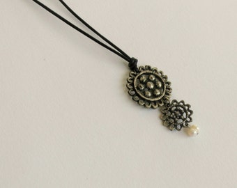 Upcycled Recycled Jewelry, Repurposed Necklace, Boho Pendand, Vintage Style Charm Necklace, OOAK, Grandmother Gift