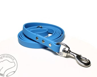 "Caribbean Blue Biothane Dog Leash - 5/8"" (16mm) Wide - Choice of: Stainless Steel or Brass Hardware and 3 Lengths"