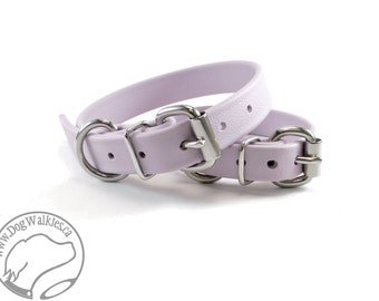 "Pastel Purple Lavender 3/4"" (19mm) Beta Biothane Dog Collar - Leather Look and Feel - Adjustable custom - Stainless Steel or Brass Hardware"