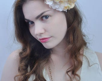 Ivory Rose and Peach Flower Hair Clip | Bridal Headpiece | Floral Headpiece | Bridal Hair Clip | Flower Headpiece | Rose Hair Clip