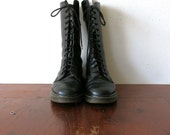 Dr Martens Boots / Doc Martens Boots / 14 Eye Tall Lace Up Combat Boots / Black Leather Boots / Size 8 Mens / 9.5 10 Womens