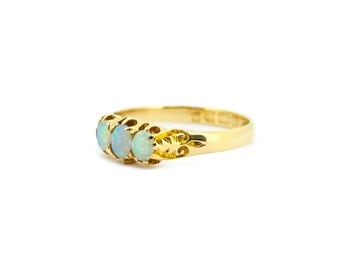 The Edwardian Opal Trilogy Ring - 18ct Gold Antique Carved Ring