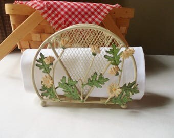 Metal Napkin Holder with Daisies