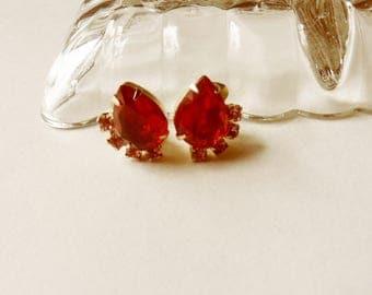 Ruby Red Teardrop Earrings, Red and Pink Rhinestone Earrings