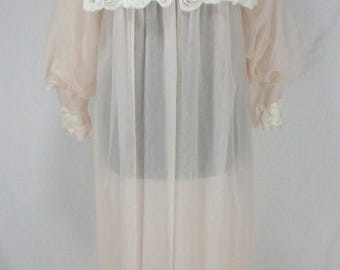 Vintage Kayser Sheer Peignoir Pale Pink Chiffon with White Lace