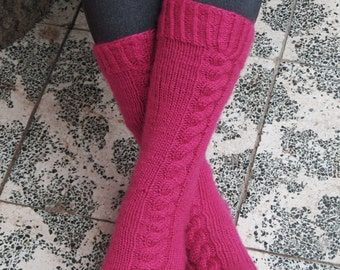 Pink Cable Knit Socks - Knee High Socks Women - Chunky Knit Boot Socks - Fashion Accessories By EmofoFashion