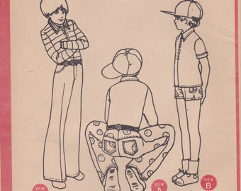 Boys 70s Pants & Shirt Pattern McCalls 3285 Size 12 Uncut