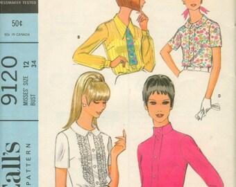 60s Versatile Blouse Pattern McCalls 9120 Size 16 Uncut