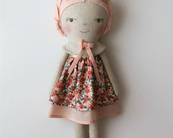 Light pink & gold doll. Rag doll. Linen and cotton handmade doll. Gift ideas for girls. Nursery decor. Heirloom doll