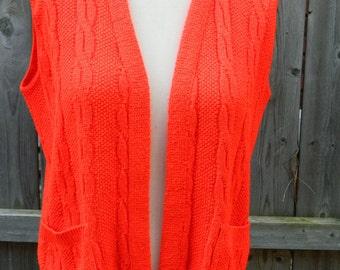 Vintage Red Milrank Wool Blend Large Sweater Vest / Layering Vest / Womens Plus Size Sweater Vest