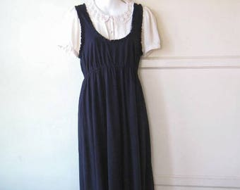 Adorable Knee Length Navy Blue Knit Jumper/Sundress; Shirred Scoop Neck; Women's Medium-Lg; Free Shipping/U.S.~Navy Knit Pinafore