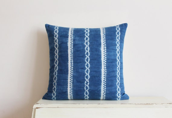 "Indigo Shibori pillow cushion cover 20"" x 20"""