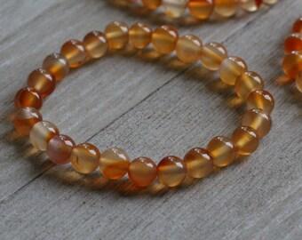 Carnelian 8 mm Round Stretchy String Bracelet B137