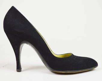 60s Vintage Original Box Black Suede High Heeled Court Shoes UK 5.5 / US 8 / EU 38.5
