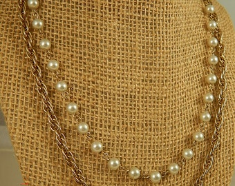 Goldtone Chain and Faux Pearl Necklace