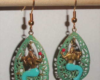 HP Hand Painted Hand Patina Distressed Light Green Figural MERMAID Holding Mirror Pierced Drop Earrings