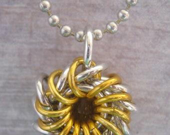 Sun Disk Whirlybird Chain Maille Pendant