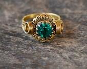Vintage Cocktail Ring Green Rhinestone Gold Tone Filigree Adjustable Renaissance Revival Boho 1970's // Vintage Costume Jewelry