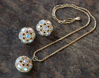 Vintage SARAH COVENTRY Pendant Necklace Clip On Earrings Disco Ball Aurora Borealis Rhinestones 1960's // Vintage Designer Costume Jewelry