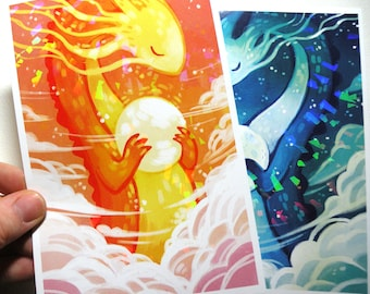 Holographic Prism Sun Dragon Print, Illustrated bookmark, Prism Bookmark