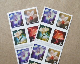 20 pieces - Vintage unused 2000 34 cent Four Flowers postage stamps - great for wedding invitations, save the dates