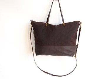 WATERPROOF  diaper bag - SKYE - Large Dark Brown Canvas top and Leather base carry all Zip Tote Everyday Market Bag