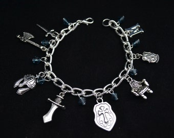 Personalized Medieval Theme Charm Bracelet  - Silver Chain, 8 Charms, Pick Your Initial, Crystals, Sword, Shield, Throne, Battle Axe, Helmet