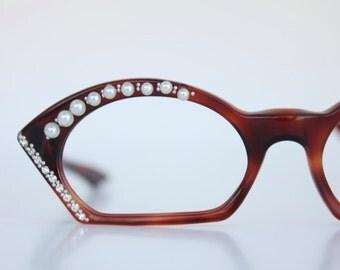Vintage 50's French Swank Pearl & Rhinestone Cat Eye Eyeglasses
