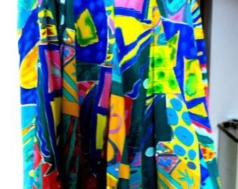 Lauren Ralph Lauren ...100% Silk Soie Art Deco Modernism   PrintLining 100 pct Doublure sz 10 Lined in Turquoise
